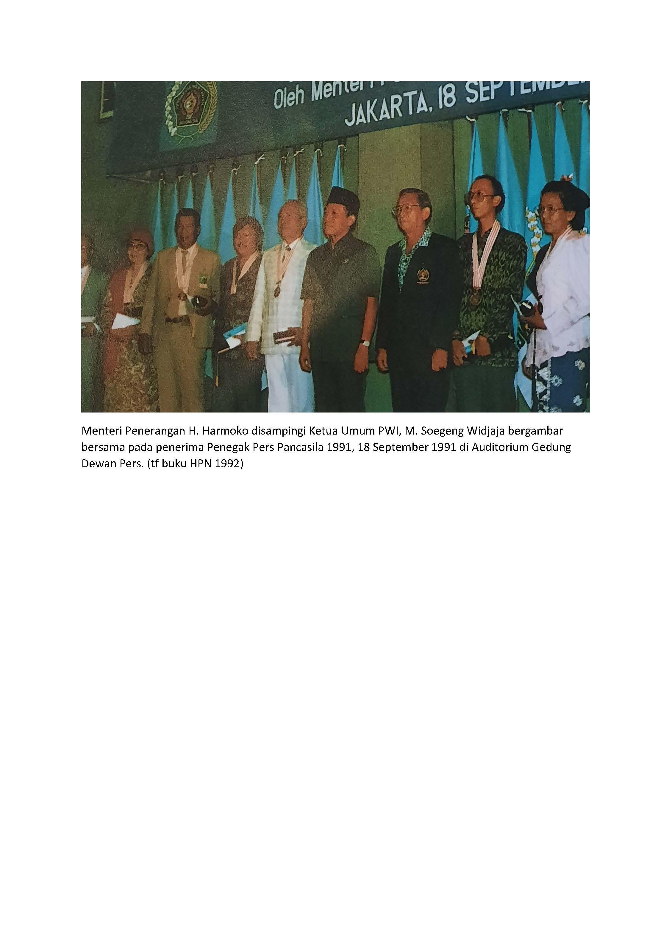Daftar Penerima Penghargaan Penegak Pers Pancasila Tahun 1991