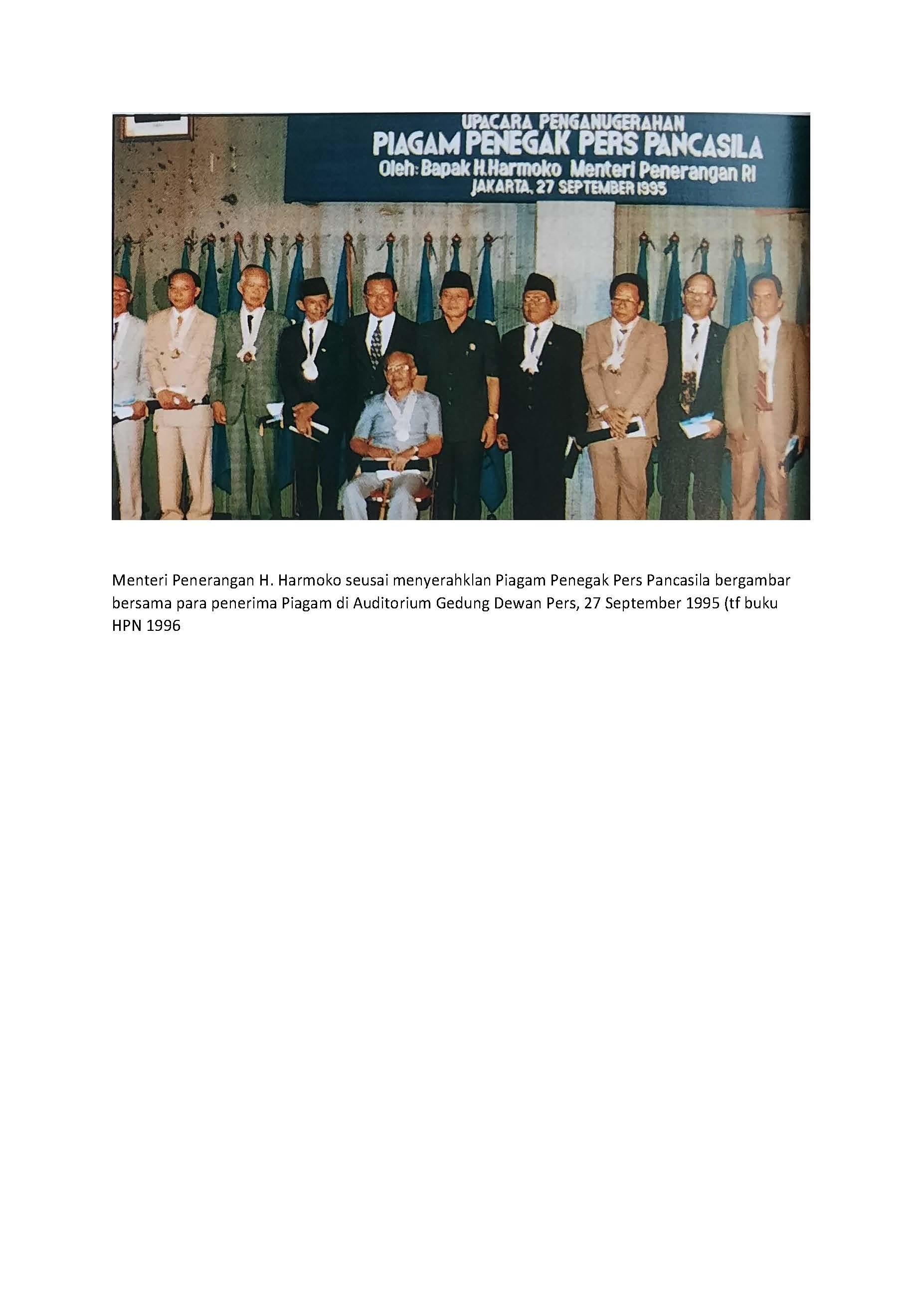 Daftar Penerima Penghargaan Penegak Pers Pancasila Tahun 1995
